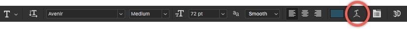 Photoshop Type Options Bar - Warped Type