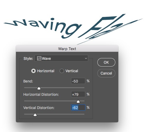 Warp Text Wave Applied - Horizontal and vertical Distortion Photoshop