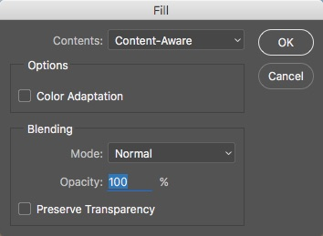04 - Content Aware Fill Drop Down in Fill