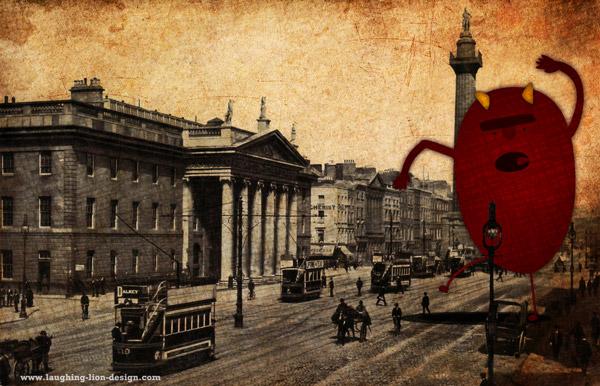 Monster On O'Connell Street Dublin Illustration