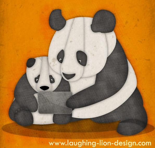 iPad Panda illustration by Jennifer Farley