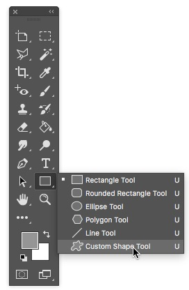 1 - Select The Custom Shape Tool Photoshop
