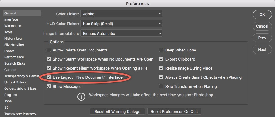 Photoshop General Preferences