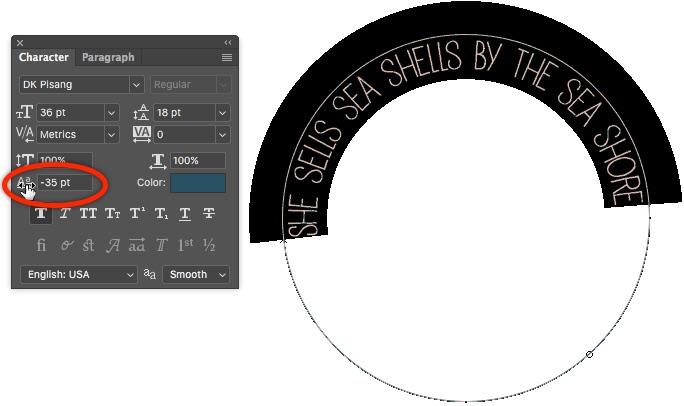 7 - Baseline Shift On Character Panel Photoshop